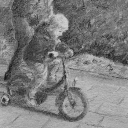 Learning to Bike   pencil drawing   20x30cm   2013