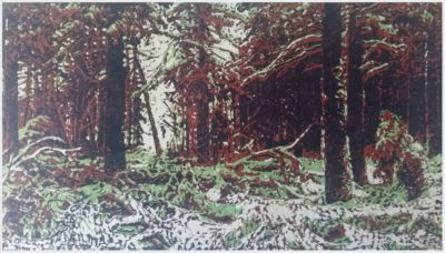 Hiberna Silvarum (after Shishkin) | linocut | 30x50cm | 2019 ©