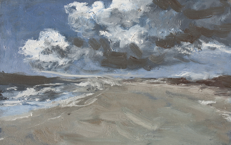 Storm aan zee (Storm at sea) | oil | 11x18cm | 2016 (sold)