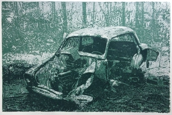 Beauty of Decay (green) | woodcut | 40x60cm | 2020 ©