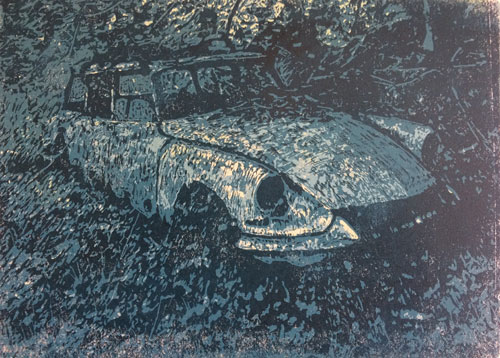 Old Citroën by moonlight | linocut | 20x30cm | 2020 ©