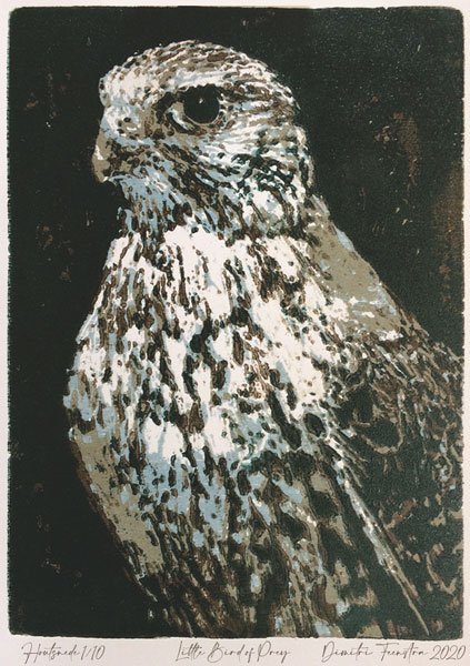 Little Bird of Prey | woodcut | 13x18cm | 2020 ©