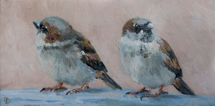 Sparrows | oil painting | 10x20cm | 2021 (sold)