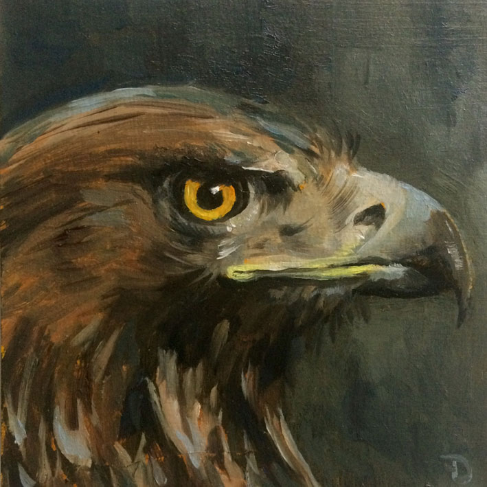 Oehoe | oil painting | 15x15cm | 2021 (sold)