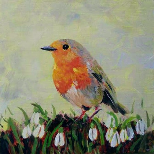 Robin and Snowdrops | oil painting | 15x15cm | 2021 (sold)