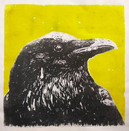 Raven | woodcut | 50x50cm | 2021