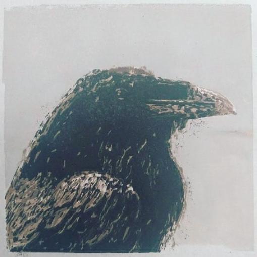 Raven | linocut | 15x15cm | 2021