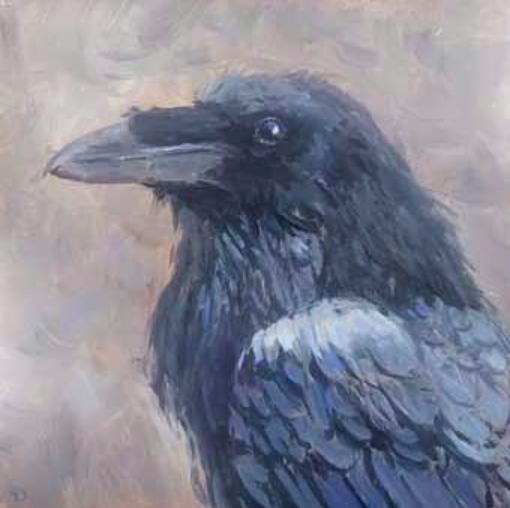 Raven | oil painting | 15x15cm | 2021 (sold)