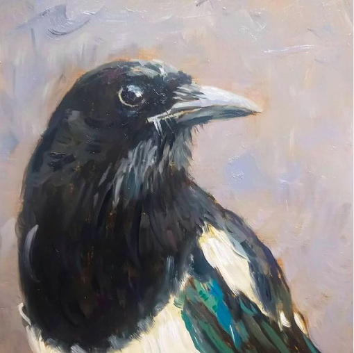Magpie | oil painting | 15x15cm | 2021 (sold)