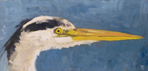 Heron | oil painting | 10x20cm | 2021