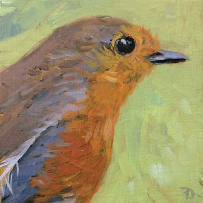 Robin | oil painting | 10x10cm | 2021