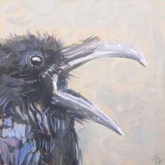 Raven | oil painting | 15x15cm | 2021