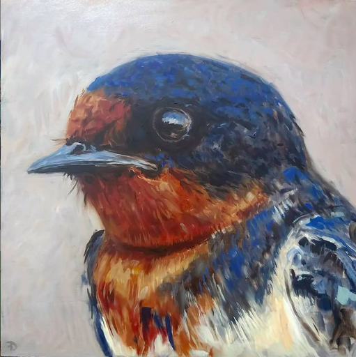 Swallow | oil painting | 27,5x27,5cm | 2021
