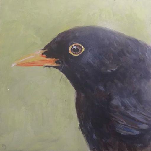 Blackbird | oil painting | 27,5x27,5cm | 2021