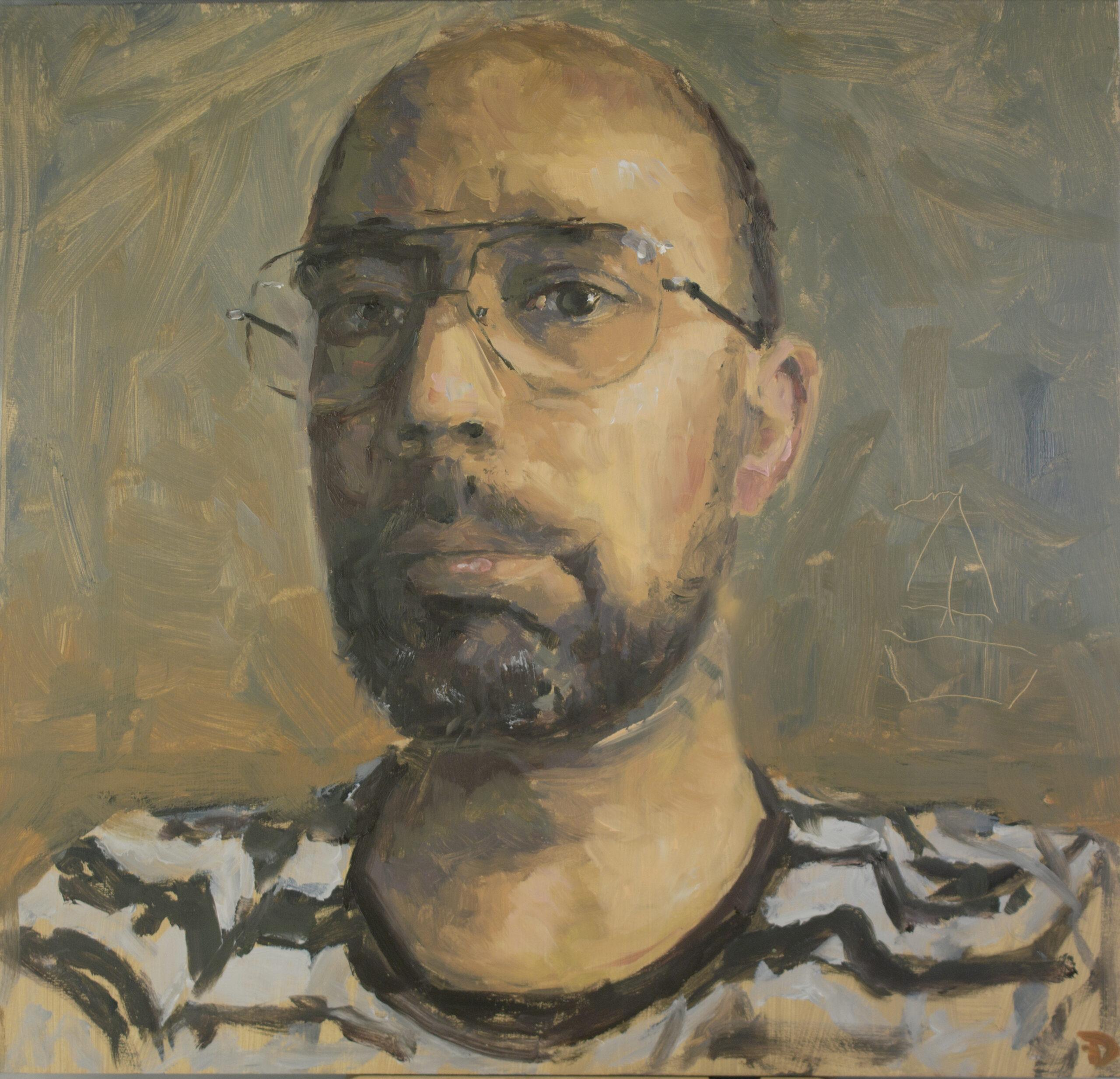 Self portrait   oil painting   30x30cm   2021
